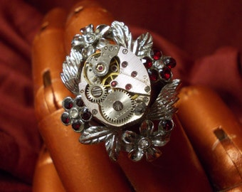 Silver Roses Steampunk Ring with Vintage Watch Movement size 8 1/2