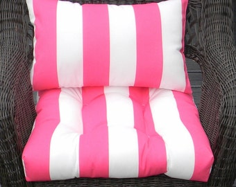 Indoor / Outdoor  Wicker Cushion and Rectangle / Lumbar Pillow Set - Pink & White Stripe Matching Set