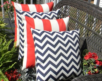 "SET OF 4 - 20"" Red Ivory Stripe & Navy / Dark Blue Indoor / Outdoor Patriotic Decorative Throw Pillows"