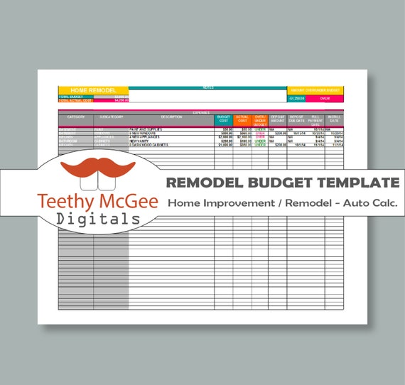 Home Improvement Budget Excel Template Excel Home Construction Budget Worksheet Word