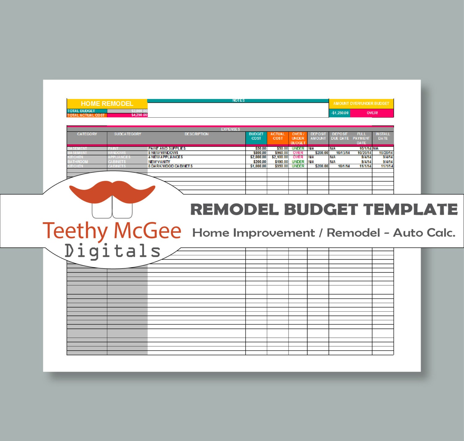 Home improvement remodel budget template instant download Home improvement software free