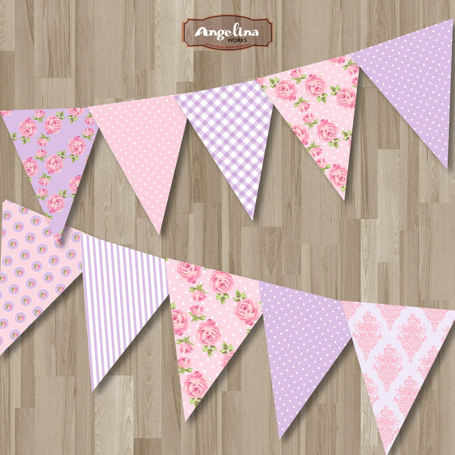 Shabby Chic Instant download Bunting Banner. Pink and Lilac Digital Printable