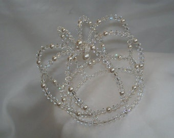 Swarovski crystal and pearl fairytale crown cake topper
