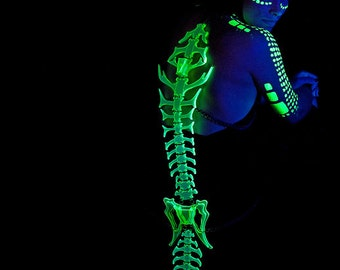 The Paleotron Spine, a black light reactive Neon-lithic costume accessory