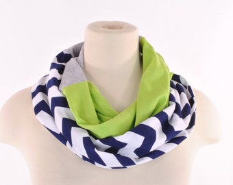 Chevron Infinity Scarf Green Navy Gray Seattle Seahawks