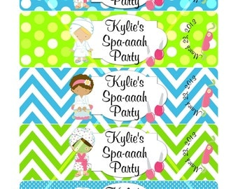 Spaaaah Spa Party Water Bottle Labels Print or Digital Download