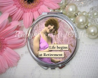 RETIREMENT Compact Mirror with Retro Woman,cosmetic, handbag or purse mirror, pocket Mirror, Retro, retirement gift, birthday gift.