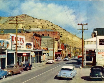 Virginia City Nevada Main Street Delta Saloon Bucket of Blood Chrome Postcard (unused)