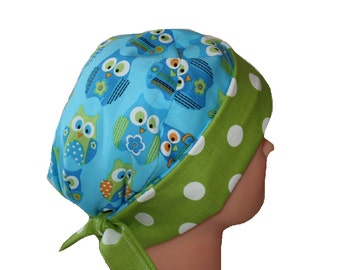 Scrub Hat Surgical Cap Chemo Hat Tie Back Pixie Flirty Front Fold Style  Blue White Green Owls Dots /  2nd Item Ships FREE
