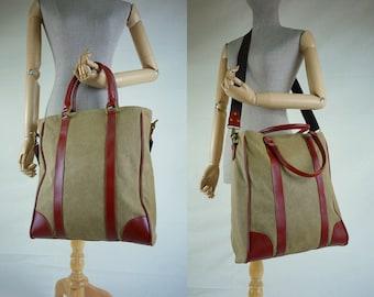 SALE - Stonewashed Dusty Khaki Sturdy Cotton Canvas Men Women Handbag/Shoulder Bag/Tote/Smart School bag/Work Bag/Casual Bag - B019