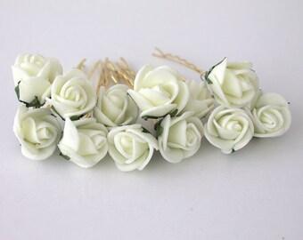 Bridal Hair Accessories, White Floral Hair Clips, Wedding Hair Accessories, Set of 12