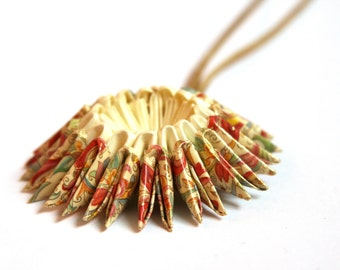 Small Florentine Pattern Origami Sunburst Necklace - Paper Necklace