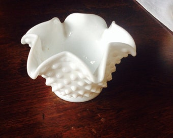 Vintage White Hobnail Milk Glass Bowl with Ruffled Edging