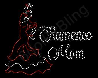 "Rhinestone Iron On Transfer ""Flamenco Mom"" Spanish Dance Dancing Crystal Bling Design - Make Your Own Shirt DIY!"
