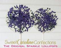 Dark Purple and Black Lollipops, Halloween Wedding Favors, Halloween Lollipops, Sweet Caroline Confections-Set of Six