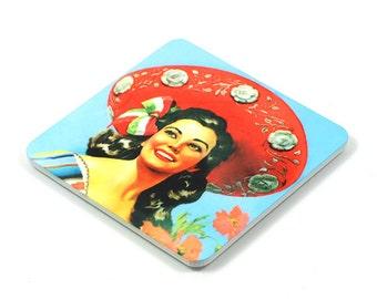Fridge Magnet, Mexico Fridge Magnet, Photo Magnet, Plastic, Square, Handmade