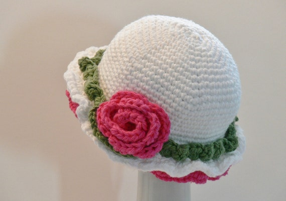 Crochet Pattern Girls Sun Hat Frilly Summer by ...