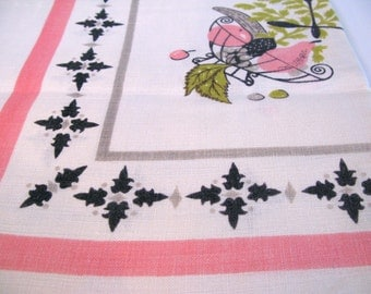 SALE Vintage Linen Tablecloth Roosters, Fish, Corn, Fruit Pattern pink gray 1950s bright colors cotton 50x50