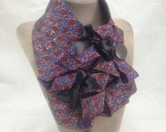 Steampunk scarf, Purple print cravat, Ladies jabot, Ruffle snood