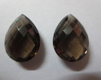 Natural Smoky Quartz Pear  Briolette 13x18 mm Matching Pair excellent quality smoky quartz briolette  smokey quartz