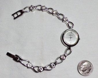 Vintage Peugeot Sterling Silver Southwest Watch CZ Diamond Look Gems Not Working