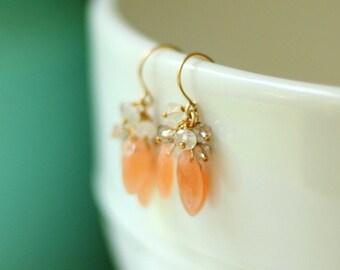 Gold Peach Earrings with Moonstones - Cluster Earrings