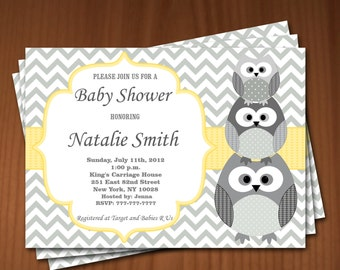Owl Baby Shower Invitation Gender Neutral Baby Shower invitations Printable Baby Shower Invite -FREE Thank You Card - Download yellow 542