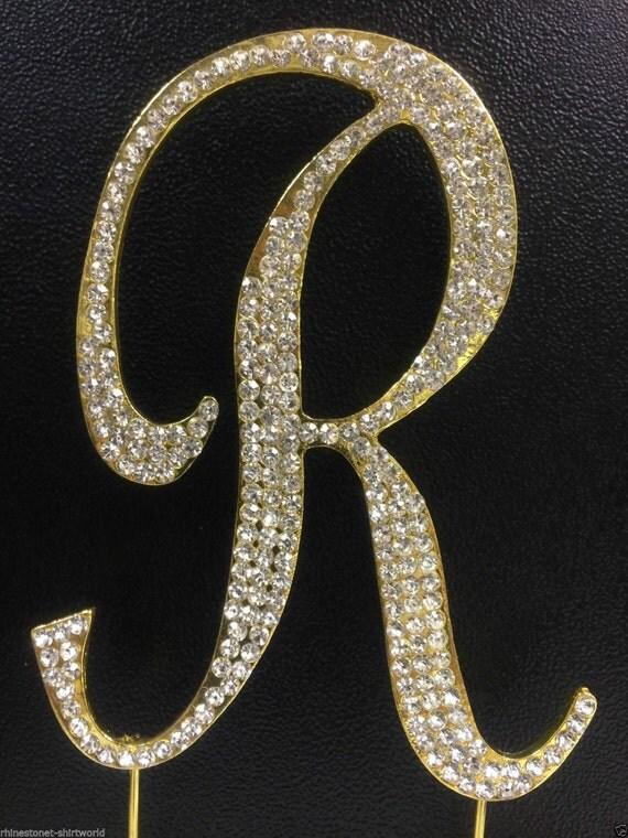 gold plated rhinestone crystal monogram letter r wedding