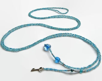 Long lariat necklace, seed bead necklace, wrap necklace, turquoise, key, layering necklace