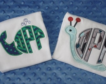 Summer Monogram Appliqued Shirts or Onesies-- Whale, Snail, or Crab