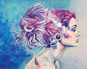 Beta Fish Ponytail, PRINT, Mixed Media Painting