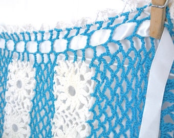 Vintage crocheted apron with ribbon ties, turquoise/teal