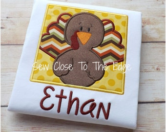 Thanksgiving Turkey Boys T-Shirt - Personalized - Applique Shirt - Toddler - Youth - Boy Embroidered T-Day Shirt