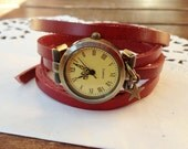 "Wrap Watch, Bracelet Watch,Wrist Watch, Vintage Watch Real Leather ""Stars"" darkred - TankGirlShop"