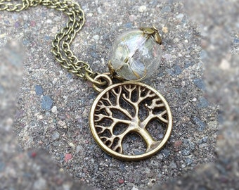 "Dandelion Necklace little  tree Dandelion Seed Filled Glass Orb Necklace ""Dreams come true"""