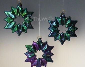 SOLSTICE Cool Tones Black Iridized Snowflake, Fused Glass Ornament Suncatcher
