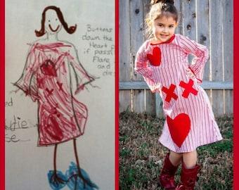 Her Drawing, Her Dress, Design Your Own Dress, Drawing to a Dress, Kids Design, Little Girls Dream Dress, Birthday Dress, Princess