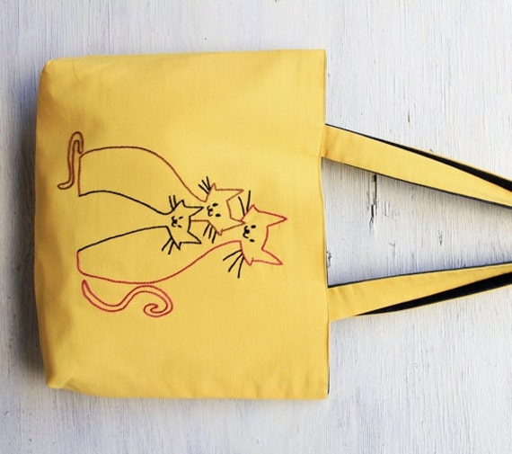 Items similar to yellow bag - tote bag - family cat yellow ...