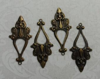 "Vintage gold plate brass stamped fancy earrings,1&1/2""x1/2"",4pcs-ERG33"