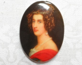 Acrylic 25x18mm victorian lady cabochon,1pc-CAB165