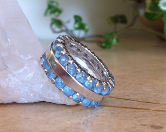 Sterling Blue Topaz Crystal Band - Sz 6 ~ Free Ship USA