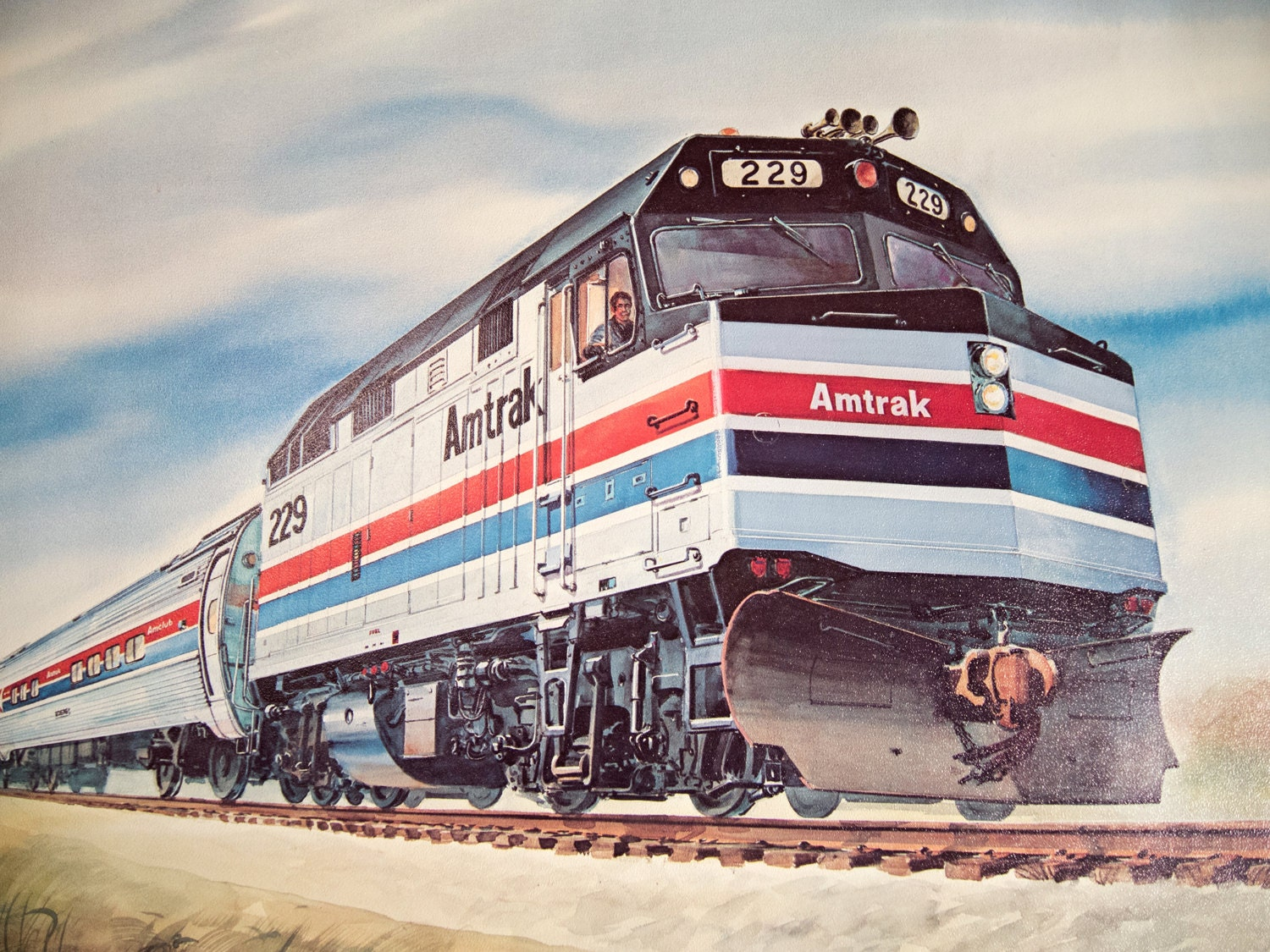 Vintage amtrak train poster by gil reid for Vintage train posters