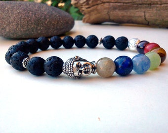 Root Chakra bracelet, 7 Chakra bracelet, Buddha bracelet, Men Chakra bracelet, Lotus flower bracelet, Yoga meditation bracelet, Root Chakra