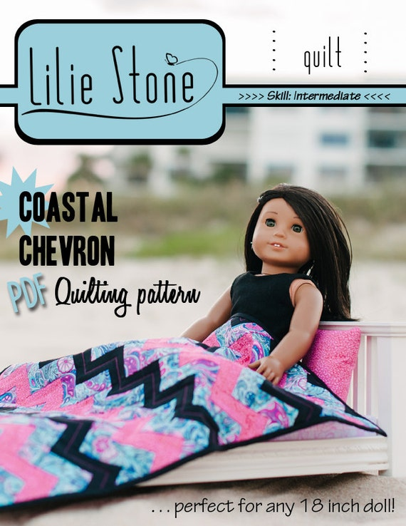 Pixie Faire Lilie Stone Coastal Chevron Quilting Doll Bedding Pattern for 18 inch American Girl Dolls - PDF