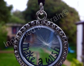 Unique 'Make a Wish' Locket Necklace, with a real dandelion seed head, and a tiny hand cut papercut inside.