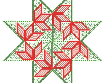 Poinsettia Star - embroidery pattern in PDF