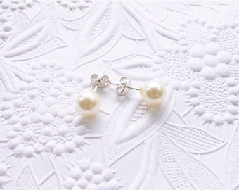 Pearl Earrings, Pearl Stud Earrings 8mm, Classic Everyday Earrings
