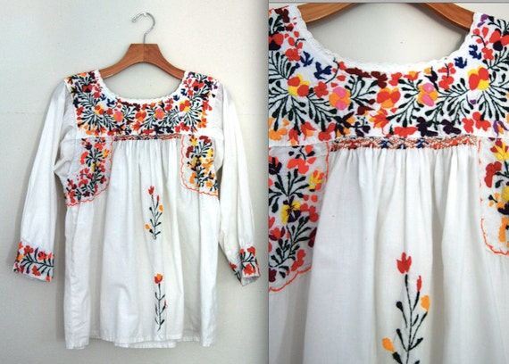Mexican Embroidered Shirt/ Boho Peasant Blouse/ Floral
