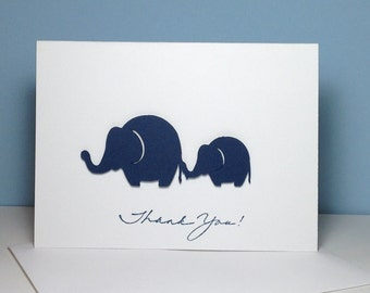 Navy Baby Shower Thank You Note Card Set Handmade Baby Elephant, Navy Blue Elephant Thank You Cards, Elephant Cards, Baby and Mommy Elephant