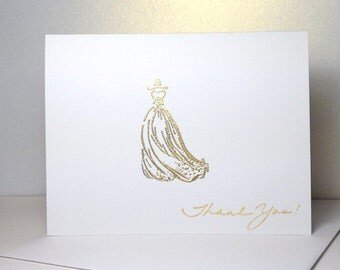 Gold Bridal Shower Thank you Card Set Embossed Gold Bridal Shower Engagement Thank You Cards Handmade Embossed Gold Bridal Gown Shower Cards